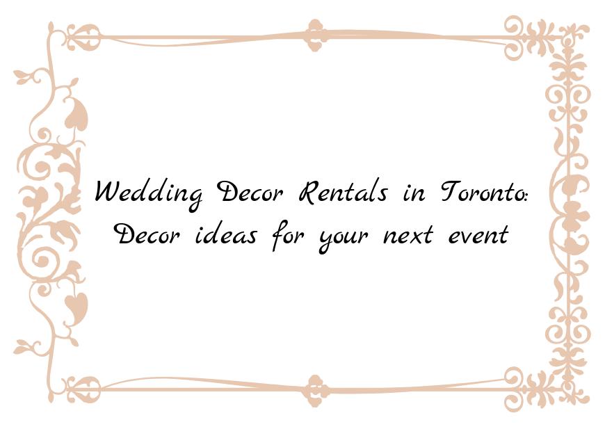 Decor ideas for your next event